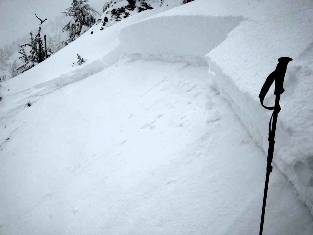 """Close up of the small <a href=""""/avalanche-terms/crown-face"""" title=""""The top fracture surface of a slab avalanche. Usually smooth, clean cut, and angled 90 degrees to the bed surface."""" class=""""lexicon-term"""">crown</a> in the lower adjacent path"""
