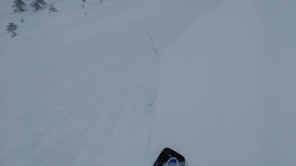 "Shooting cracks in <a href=""https://www.sierraavalanchecenter.org/avalanche-terms/wind-loading"" title=""The added weight of wind drifted snow."" class=""lexicon-term"">wind loaded</a> terrain near natural <a href=""https://www.sierraavalanchecenter.org/avalanche-terms/avalanche"" title=""A mass of snow sliding, tumbling, or flowing down an inclined surface."" class=""lexicon-term"">avalanche</a>."