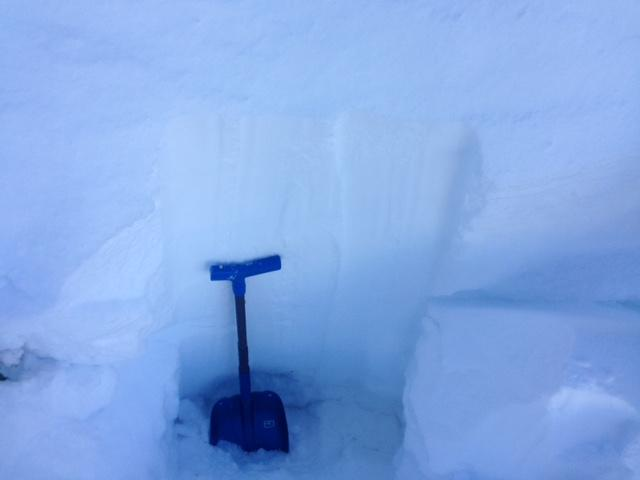 """5' of recent storm snow on top of 12/15 <a href=""""https://www.sierraavalanchecenter.org/avalanche-terms/rain-crust"""" title=""""A clear layer of ice formed when rain falls on the snow surface then freezes."""" class=""""lexicon-term"""">rain crust</a> and NCF's."""