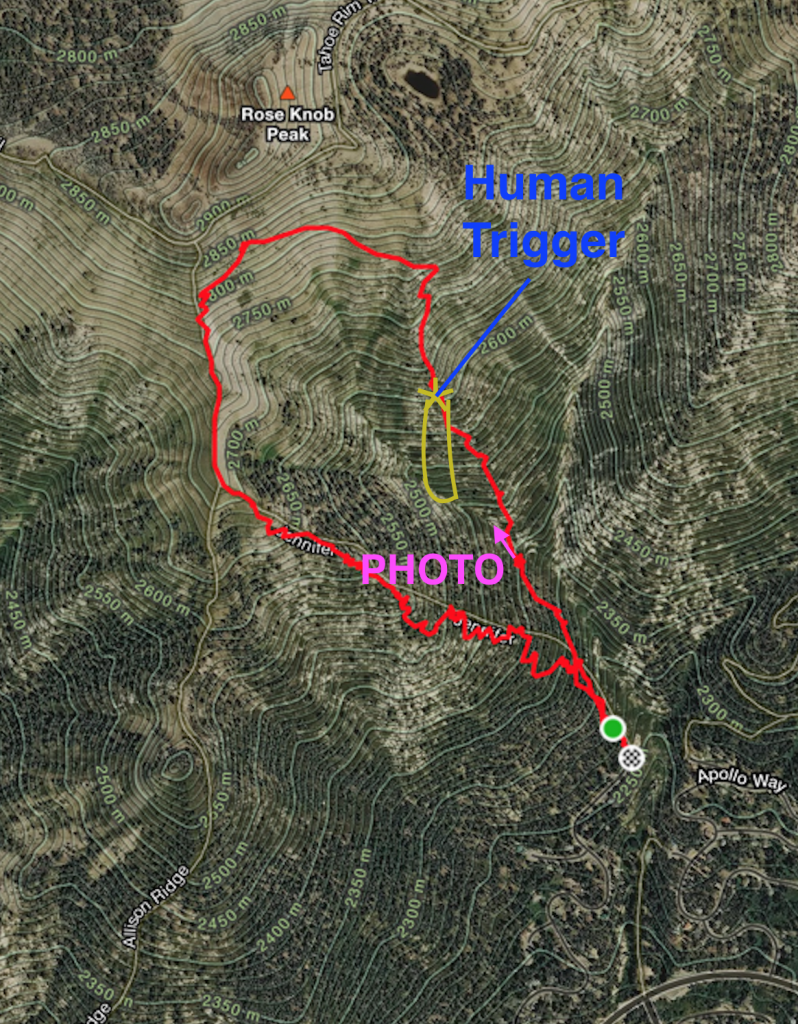 """<a href=""""/avalanche-terms/avalanche-path"""" title=""""A terrain feature where an avalanche occurs. Composed of a Starting Zone, Track, and Runout Zone."""" class=""""lexicon-term"""">Avalanche Path</a> in Yellow."""