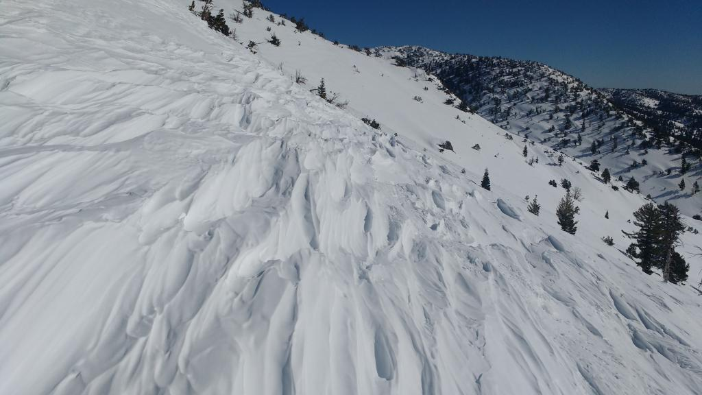 Wind-sculpted surfaces on exposed slopes at 9400 ft.