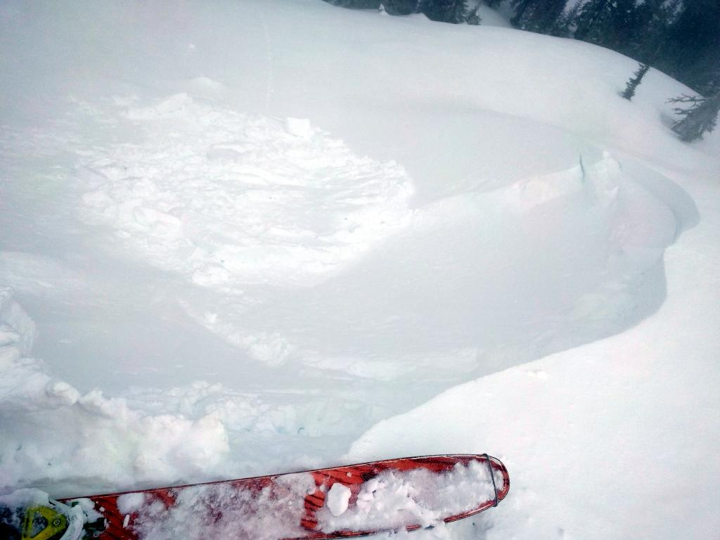"The other side of the <a href=""https://www.sierraavalanchecenter.org/avalanche-terms/wind-slab"" title=""A cohesive layer of snow formed when wind deposits snow onto leeward terrain. Wind slabs are often smooth and rounded and sometimes sound hollow."" class=""lexicon-term"">wind slab</a> that resulted from the <a href=""https://www.sierraavalanchecenter.org/avalanche-terms/cornice"" title=""A mass of snow deposited by the wind, often overhanging, and usually near a sharp terrain break such as a ridge. Cornices can break off unexpectedly and should be approached with caution."" class=""lexicon-term"">cornice</a> drop."