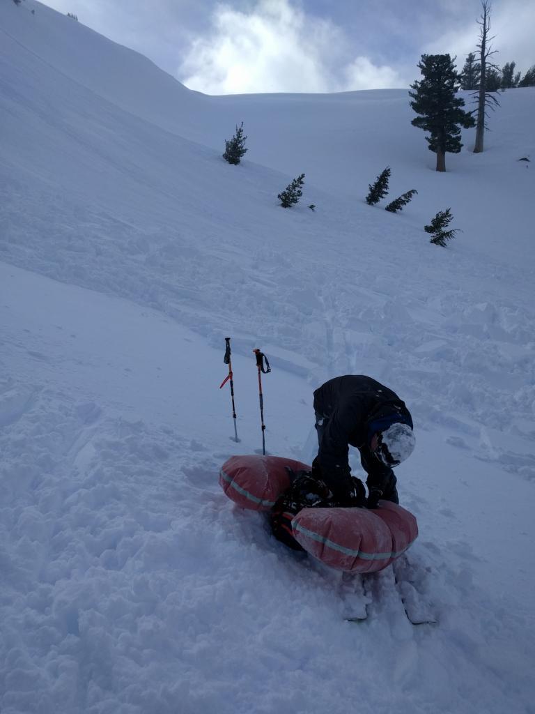 Skier with debris field.