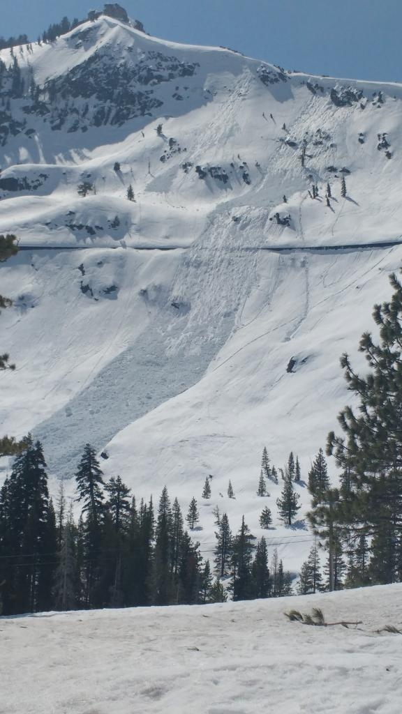 "Loose wet <a href=""http://www.sierraavalanchecenter.org/avalanche-terms/avalanche"" title=""A mass of snow sliding, tumbling, or flowing down an inclined surface."" class=""lexicon-term"">avalanche</a> size D2 <a href=""http://www.sierraavalanchecenter.org/avalanche-terms/trigger"" title=""A disturbance that initiates fracture within the weak layer causing an avalanche. In 90 percent of avalanche accidents, the victim or someone in the victims party triggers the avalanche."" class=""lexicon-term"">triggered</a> by natural <a href=""http://www.sierraavalanchecenter.org/avalanche-terms/cornice"" title=""A mass of snow deposited by the wind, often overhanging, and usually near a sharp terrain break such as a ridge. Cornices can break off unexpectedly and should be approached with caution."" class=""lexicon-term"">cornice</a> <a href=""http://www.sierraavalanchecenter.org/avalanche-terms/collapse"" title=""When the fracture of a lower snow layer causes an upper layer to fall. Also called a whumpf, this is an obvious sign of instability."" class=""lexicon-term"">collapse</a>."