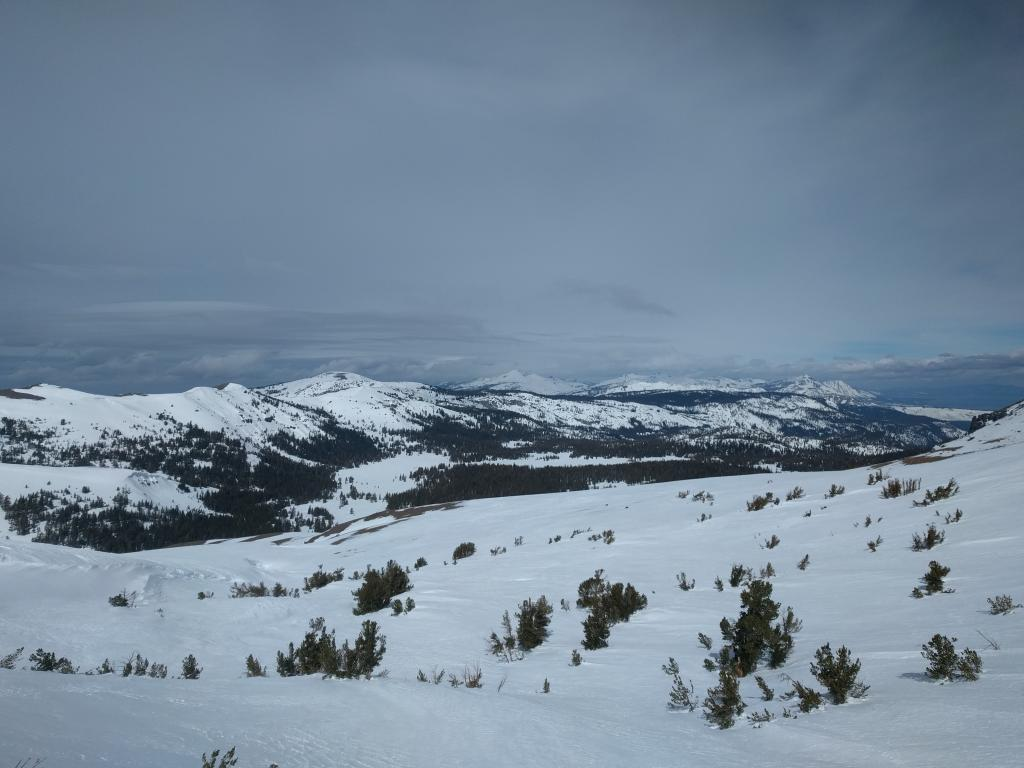 Looking north along the Sierra Crest - note the more widespread cloud cover north of Emerald Bay