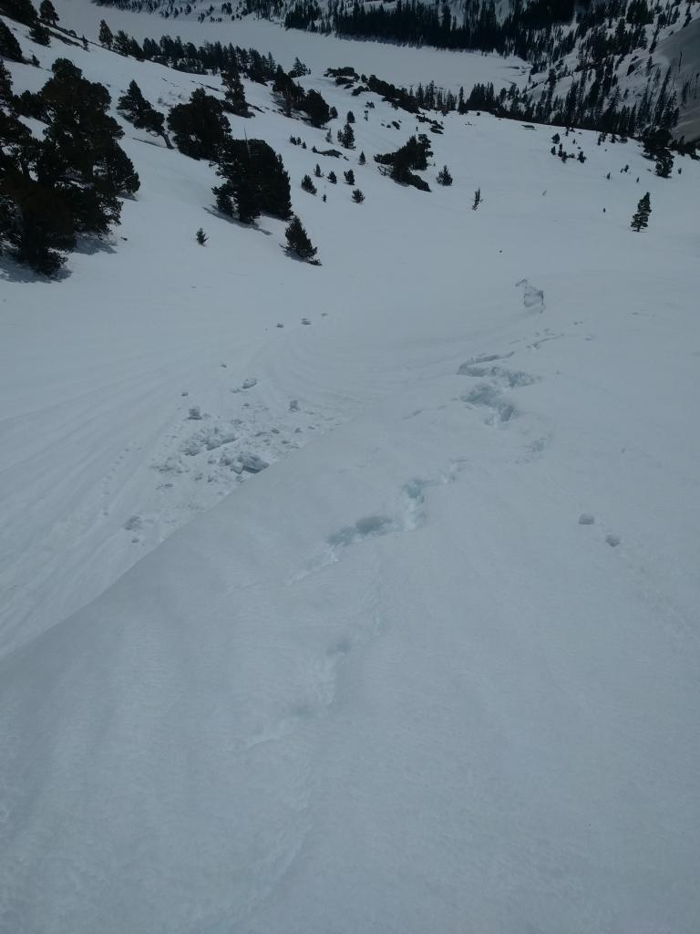 """Cracks near the edge of a small <a href=""""http://www.sierraavalanchecenter.org/avalanche-terms/cornice"""" title=""""A mass of snow deposited by the wind, often overhanging, and usually near a sharp terrain break such as a ridge. Cornices can break off unexpectedly and should be approached with caution."""" class=""""lexicon-term"""">cornice</a> and an older <a href=""""http://www.sierraavalanchecenter.org/avalanche-terms/cornice"""" title=""""A mass of snow deposited by the wind, often overhanging, and usually near a sharp terrain break such as a ridge. Cornices can break off unexpectedly and should be approached with caution."""" class=""""lexicon-term"""">cornice</a> <a href=""""http://www.sierraavalanchecenter.org/avalanche-terms/collapse"""" title=""""When the fracture of a lower snow layer causes an upper layer to fall. Also called a whumpf, this is an obvious sign of instability."""" class=""""lexicon-term"""">collapse</a>"""