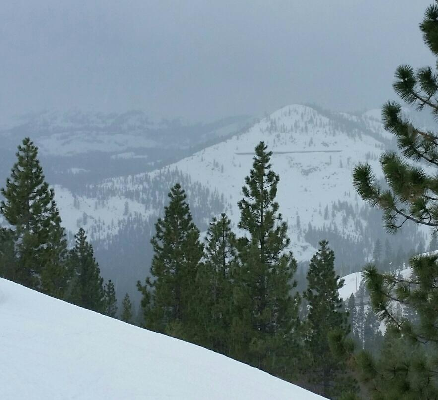Looking southwest.  Rain on Donner Peak