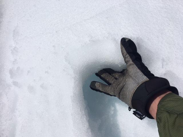4 inches of snow surface refreeze on open slopes above 8,000'.