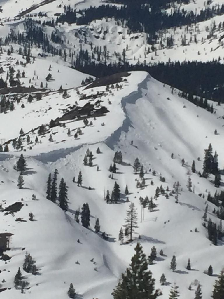 """Recent <a href=""""https://www.sierraavalanchecenter.org/avalanche-terms/cornice"""" title=""""A mass of snow deposited by the wind, often overhanging, and usually near a sharp terrain break such as a ridge. Cornices can break off unexpectedly and should be approached with caution."""" class=""""lexicon-term"""">cornice</a> fall, on E <a href=""""https://www.sierraavalanchecenter.org/avalanche-terms/aspect"""" title=""""The compass direction a slope faces (i.e. North, South, East, or West.)"""" class=""""lexicon-term"""">aspect</a> at 7100'"""