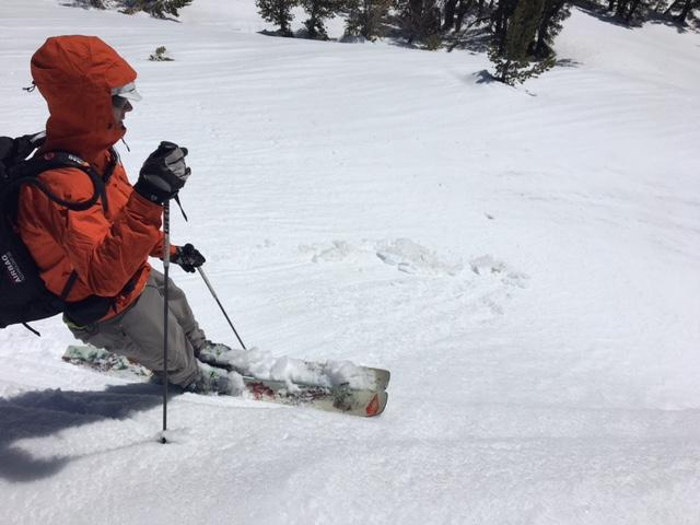 "Small skier <a href=""https://www.sierraavalanchecenter.org/avalanche-terms/trigger"" title=""A disturbance that initiates fracture within the weak layer causing an avalanche. In 90 percent of avalanche accidents, the victim or someone in the victims party triggers the avalanche."" class=""lexicon-term"">triggered</a> loose wet activity within gully."