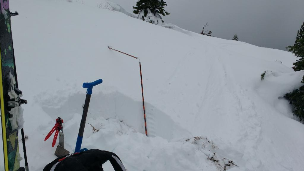 "<a href=""https://www.sierraavalanchecenter.org/avalanche-terms/snowpit"" title=""A pit dug vertically into the snowpack where snow layering is observed and stability tests may be performed. Also called a snow profile."" class=""lexicon-term"">Snowpit</a> location with 50cm snow depth, some previous <a href=""https://www.sierraavalanchecenter.org/avalanche-terms/wind-loading"" title=""The added weight of wind drifted snow."" class=""lexicon-term"">wind loading</a>."