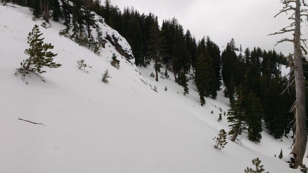 "Deepening snowcover on N <a href=""https://www.sierraavalanchecenter.org/avalanche-terms/aspect"" title=""The compass direction a slope faces (i.e. North, South, East, or West.)"" class=""lexicon-term"">aspect</a> at 8,000'. <a href=""https://www.sierraavalanchecenter.org/avalanche-terms/anchors"" title=""Trees, bushes or rocks protruding though the slab that may help hold it in place."" class=""lexicon-term"">Anchors</a> negated."