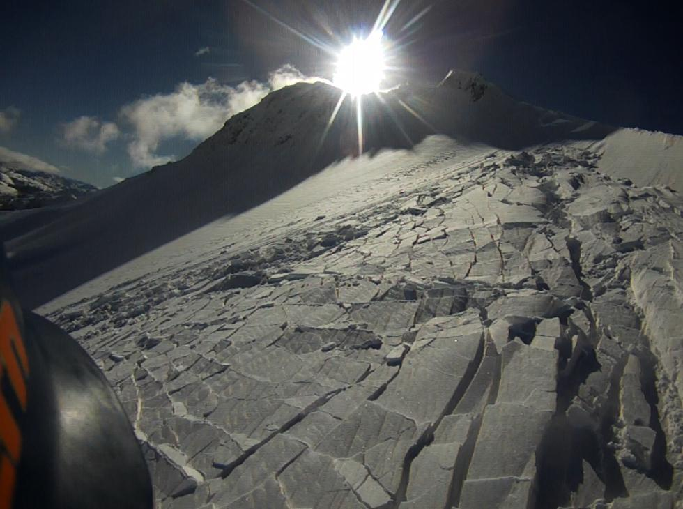 """Looking up. The highest part went the farthest, but was mostly <a href=""""https://www.sierraavalanchecenter.org/avalanche-terms/loose-snow-avalanche"""" title=""""An avalanche that releases from a point and spreads downhill collecting more snow - different from a slab avalanche. Also called a point-release or sluff."""" class=""""lexicon-term"""">sluff</a>"""