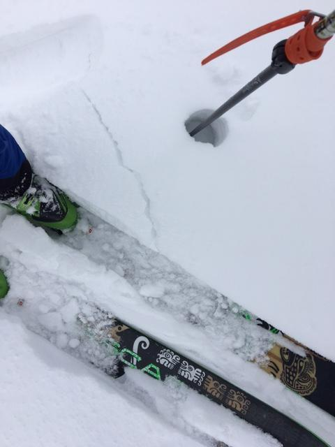 """Small instability within new storm snow, <a href=""""https://www.sierraavalanchecenter.org/avalanche-terms/graupel"""" title=""""Heavily rimed new snow, often shaped like little Styrofoam balls."""" class=""""lexicon-term"""">graupel</a> <a href=""""https://www.sierraavalanchecenter.org/avalanche-terms/snow-layer"""" title=""""A snowpack stratum differentiated from others by weather, metamorphism, or other processes."""" class=""""lexicon-term"""">layer</a>."""