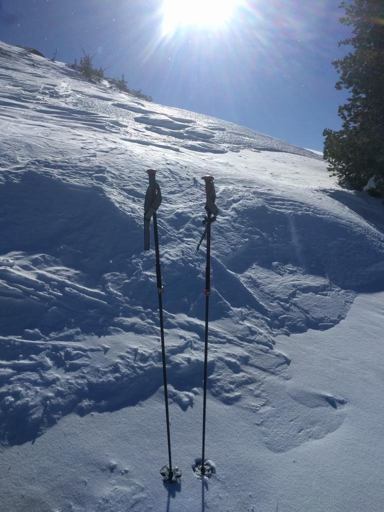 "Scoured surfaces on a N <a href=""https://www.sierraavalanchecenter.org/avalanche-terms/aspect"" title=""The compass direction a slope faces (i.e. North, South, East, or West.)"" class=""lexicon-term"">aspect</a> near 8800 ft. on Basin Peak"