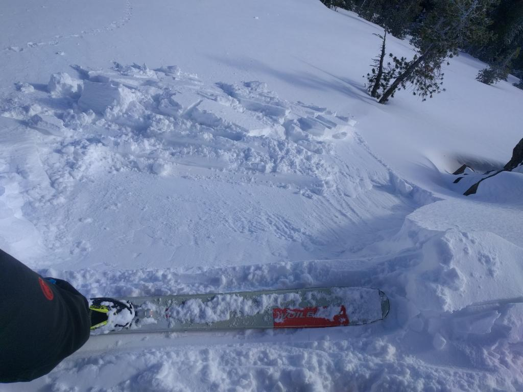 The same slope after it failed on the next ski kick.