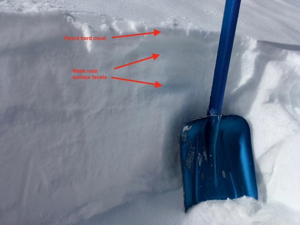 "<a href=""https://www.sierraavalanchecenter.org/avalanche-terms/snowpit"" title=""A pit dug vertically into the snowpack where snow layering is observed and stability tests may be performed. Also called a snow profile."" class=""lexicon-term"">Pit</a> adjacent to old <a href=""https://www.sierraavalanchecenter.org/avalanche-terms/crown-face"" title=""The top fracture surface of a slab avalanche. Usually smooth, clean cut, and angled 90 degrees to the bed surface."" class=""lexicon-term"">crown</a>"