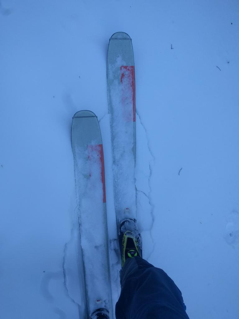 "Minor cracking around my skis on a N <a href=""https://www.sierraavalanchecenter.org/avalanche-terms/aspect"" title=""The compass direction a slope faces (i.e. North, South, East, or West.)"" class=""lexicon-term"">aspect</a> @ 8440 ft."