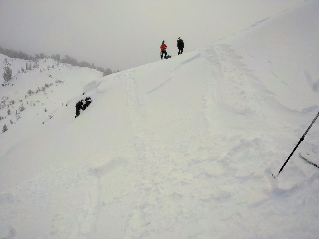 "Small <a href=""https://www.sierraavalanchecenter.org/avalanche-terms/wind-slab"" title=""A cohesive layer of snow formed when wind deposits snow onto leeward terrain. Wind slabs are often smooth and rounded and sometimes sound hollow."" class=""lexicon-term"">wind slab</a> failure resulting from a <a href=""https://www.sierraavalanchecenter.org/avalanche-terms/ski-cut"" title=""A stability test where a skier, rider or snowmobiler rapidly crosses an avalanche starting zone to see if an avalanche initiates. Slope cuts can be dangerous and should only be performed by experienced people on small avalanche paths or test slopes."" class=""lexicon-term"">ski cut</a> on a small wind-<a href=""https://www.sierraavalanchecenter.org/avalanche-terms/loading"" title=""The addition of weight on top of a snowpack, usually from precipitation, wind drifting, or a person."" class=""lexicon-term"">loaded</a> test slope near the ridge at 9700 ft. on a NE <a href=""https://www.sierraavalanchecenter.org/avalanche-terms/aspect"" title=""The compass direction a slope faces (i.e. North, South, East, or West.)"" class=""lexicon-term"">aspect</a>."