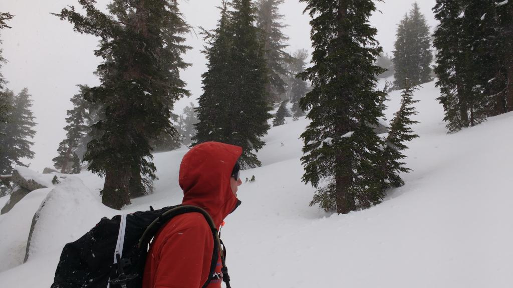 Unexpected snow shower activity at 9,080' on Peak 9,269'.