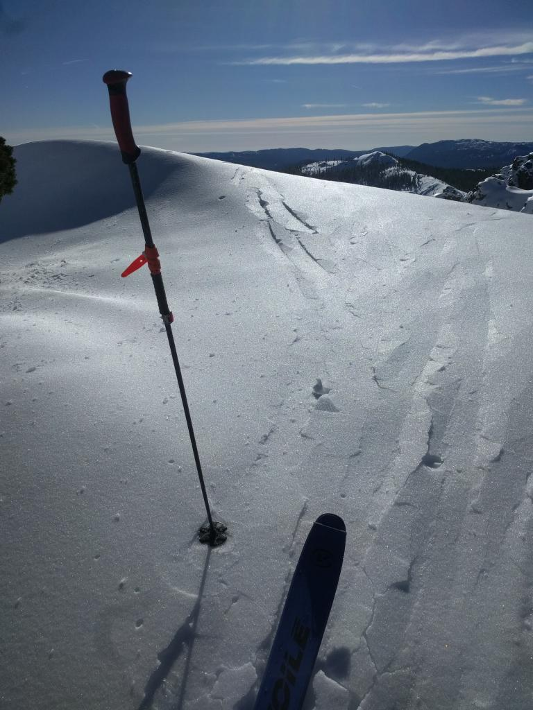 "Frozen surface crust on a NW <a href=""https://www.sierraavalanchecenter.org/avalanche-terms/aspect"" title=""The compass direction a slope faces (i.e. North, South, East, or West.)"" class=""lexicon-term"">aspect</a> along the ridgeline at 8400 ft."