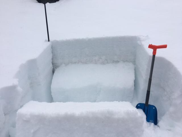 """ECTP-13 on buried <a href=""""https://www.sierraavalanchecenter.org/avalanche-terms/faceted-snow"""" title=""""Angular snow with poor bonding created from large temperature gradients within the snowpack."""" class=""""lexicon-term"""">facet</a> <a href=""""https://www.sierraavalanchecenter.org/avalanche-terms/snow-layer"""" title=""""A snowpack stratum differentiated from others by weather, metamorphism, or other processes."""" class=""""lexicon-term"""">layer</a> below 14'' <a href=""""https://www.sierraavalanchecenter.org/avalanche-terms/slab"""" title=""""A relatively cohesive snowpack layer."""" class=""""lexicon-term"""">slab</a>.  N <a href=""""https://www.sierraavalanchecenter.org/avalanche-terms/aspect"""" title=""""The compass direction a slope faces (i.e. North, South, East, or West.)"""" class=""""lexicon-term"""">aspect</a>, 8400'."""