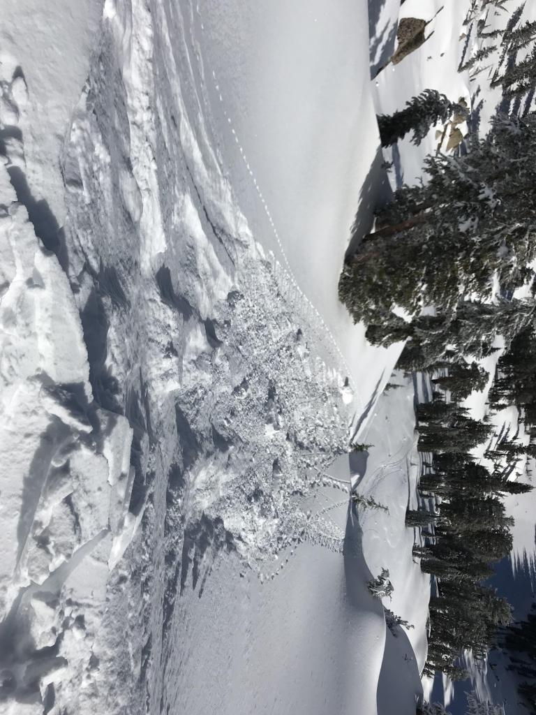 """<a href=""""https://www.sierraavalanchecenter.org/avalanche-terms/cornice"""" title=""""A mass of snow deposited by the wind, often overhanging, and usually near a sharp terrain break such as a ridge. Cornices can break off unexpectedly and should be approached with caution."""" class=""""lexicon-term"""">Cornice</a> drop results"""