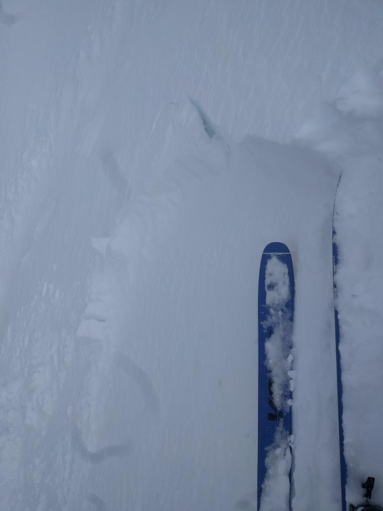 "Small <a href=""https://www.sierraavalanchecenter.org/avalanche-terms/wind-slab"" title=""A cohesive layer of snow formed when wind deposits snow onto leeward terrain. Wind slabs are often smooth and rounded and sometimes sound hollow."" class=""lexicon-term"">wind slab</a> <a href=""https://www.sierraavalanchecenter.org/avalanche-terms/trigger"" title=""A disturbance that initiates fracture within the weak layer causing an avalanche. In 90 percent of avalanche accidents, the victim or someone in the victims party triggers the avalanche."" class=""lexicon-term"">triggered</a> by a ski kick on a wind-<a href=""https://www.sierraavalanchecenter.org/avalanche-terms/loading"" title=""The addition of weight on top of a snowpack, usually from precipitation, wind drifting, or a person."" class=""lexicon-term"">loaded</a> test slope on the far east ridge of Tamarack Peak."