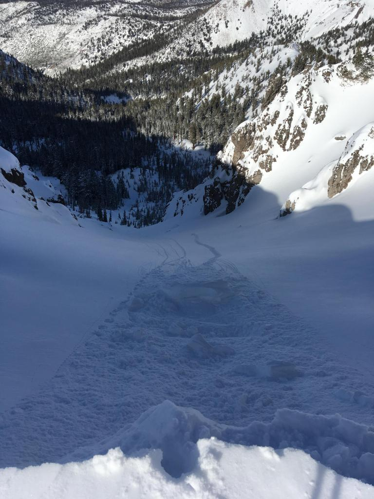 "<a href=""https://www.sierraavalanchecenter.org/avalanche-terms/cornice"" title=""A mass of snow deposited by the wind, often overhanging, and usually near a sharp terrain break such as a ridge. Cornices can break off unexpectedly and should be approached with caution."" class=""lexicon-term"">Cornice</a> cut producing no instability on relatively sheltered N <a href=""https://www.sierraavalanchecenter.org/avalanche-terms/aspect"" title=""The compass direction a slope faces (i.e. North, South, East, or West.)"" class=""lexicon-term"">aspect</a>"