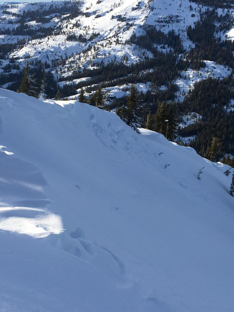 "<a href=""https://www.sierraavalanchecenter.org/avalanche-terms/cornice"" title=""A mass of snow deposited by the wind, often overhanging, and usually near a sharp terrain break such as a ridge. Cornices can break off unexpectedly and should be approached with caution."" class=""lexicon-term"">Cornice</a> that failed during the last storm cycle"