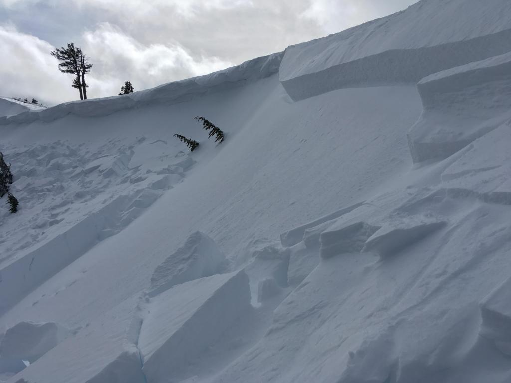 "Same <a href=""https://www.sierraavalanchecenter.org/avalanche-terms/avalanche"" title=""A mass of snow sliding, tumbling, or flowing down an inclined surface."" class=""lexicon-term"">slide</a> from skier's left edge"