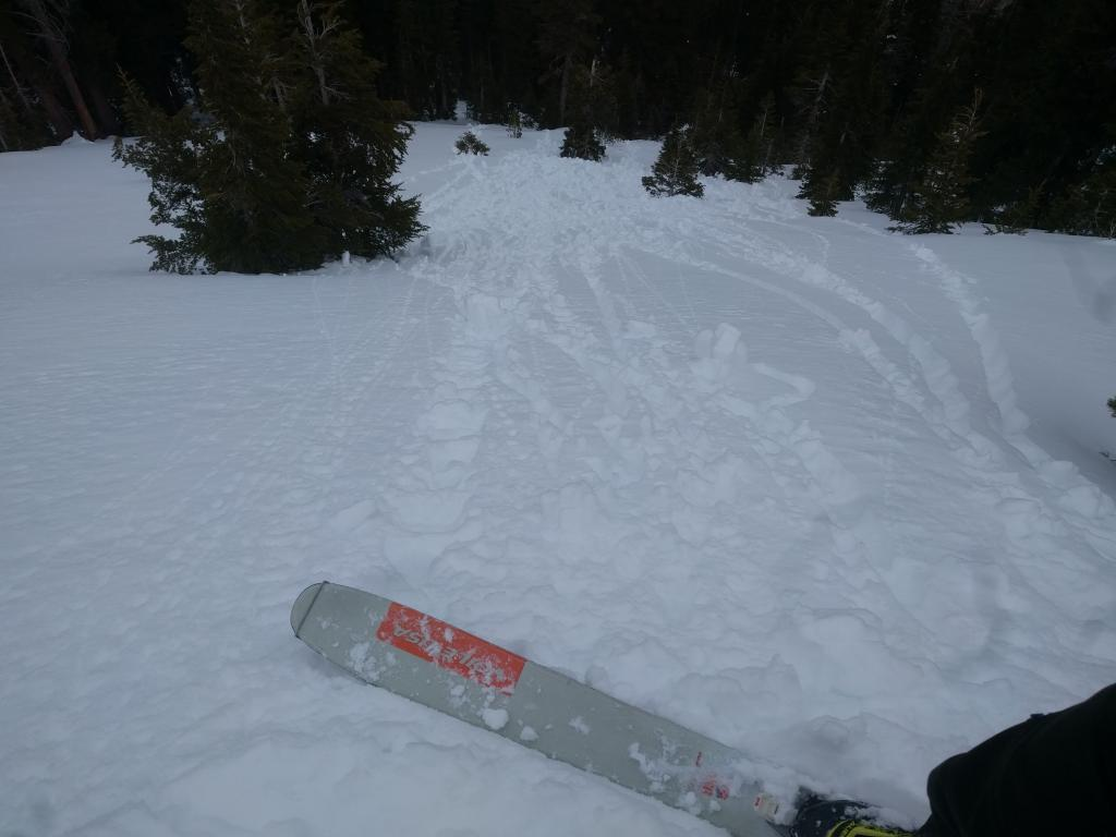 "Skier <a href=""https://www.sierraavalanchecenter.org/avalanche-terms/trigger"" title=""A disturbance that initiates fracture within the weak layer causing an avalanche. In 90 percent of avalanche accidents, the victim or someone in the victims party triggers the avalanche."" class=""lexicon-term"">triggered</a> pinwheels and roller balls on a NE <a href=""https://www.sierraavalanchecenter.org/avalanche-terms/aspect"" title=""The compass direction a slope faces (i.e. North, South, East, or West.)"" class=""lexicon-term"">aspect</a> at 8400 ft. at 1pm."