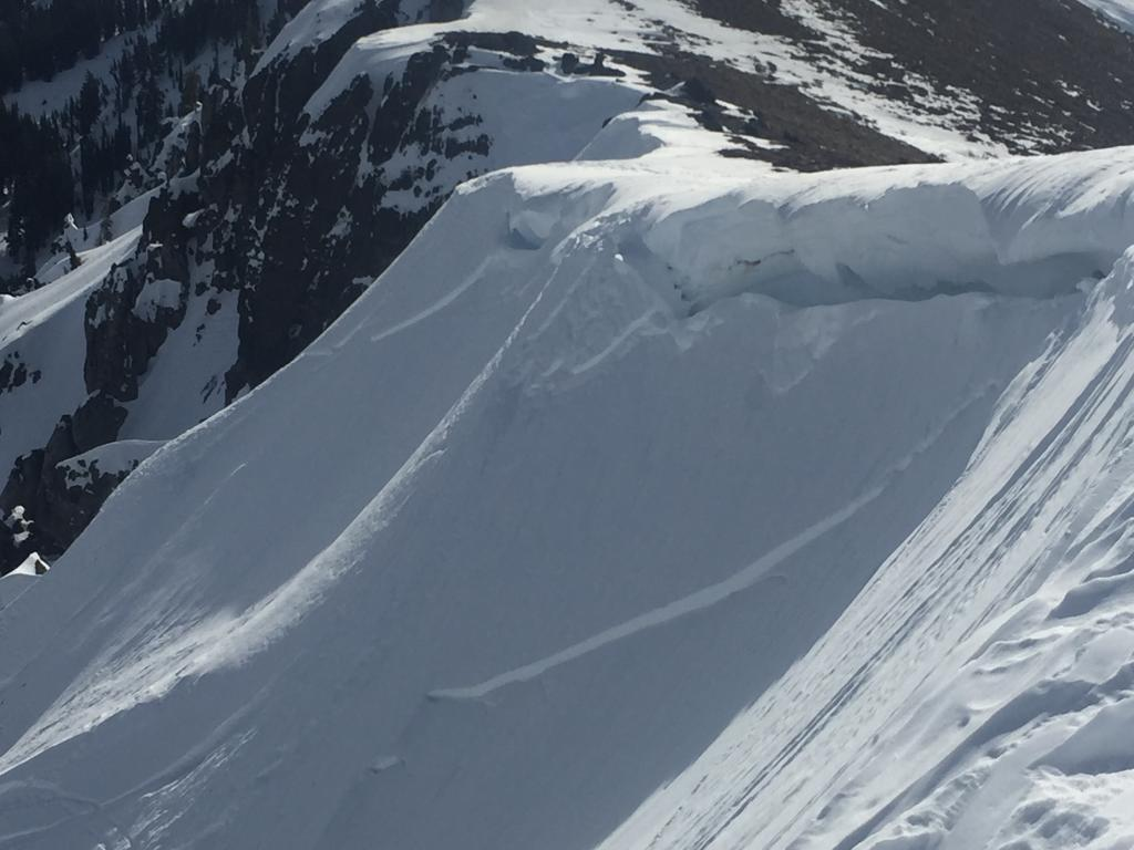 "Old <a href=""https://www.sierraavalanchecenter.org/avalanche-terms/wind-slab"" title=""A cohesive layer of snow formed when wind deposits snow onto leeward terrain. Wind slabs are often smooth and rounded and sometimes sound hollow."" class=""lexicon-term"">wind slab</a> <a href=""https://www.sierraavalanchecenter.org/avalanche-terms/avalanche"" title=""A mass of snow sliding, tumbling, or flowing down an inclined surface."" class=""lexicon-term"">avalanche</a> above Deep Creek"