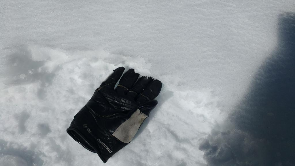 "2 inches of surface wet snow. <a href=""https://www.sierraavalanchecenter.org/avalanche-terms/rain-crust"" title=""A clear layer of ice formed when rain falls on the snow surface then freezes."" class=""lexicon-term"">Rain crust</a> below glove providing supportability."