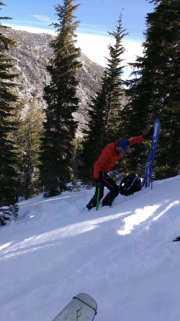 "<a href=""https://www.sierraavalanchecenter.org/avalanche-terms/snowpit"" title=""A pit dug vertically into the snowpack where snow layering is observed and stability tests may be performed. Also called a snow profile."" class=""lexicon-term"">Snowpit</a> location at 9,000' with 1.3m deep snowpack on a N <a href=""https://www.sierraavalanchecenter.org/avalanche-terms/aspect"" title=""The compass direction a slope faces (i.e. North, South, East, or West.)"" class=""lexicon-term"">aspect</a> and mostly bare ground on S <a href=""https://www.sierraavalanchecenter.org/avalanche-terms/aspect"" title=""The compass direction a slope faces (i.e. North, South, East, or West.)"" class=""lexicon-term"">aspects</a> in the background."