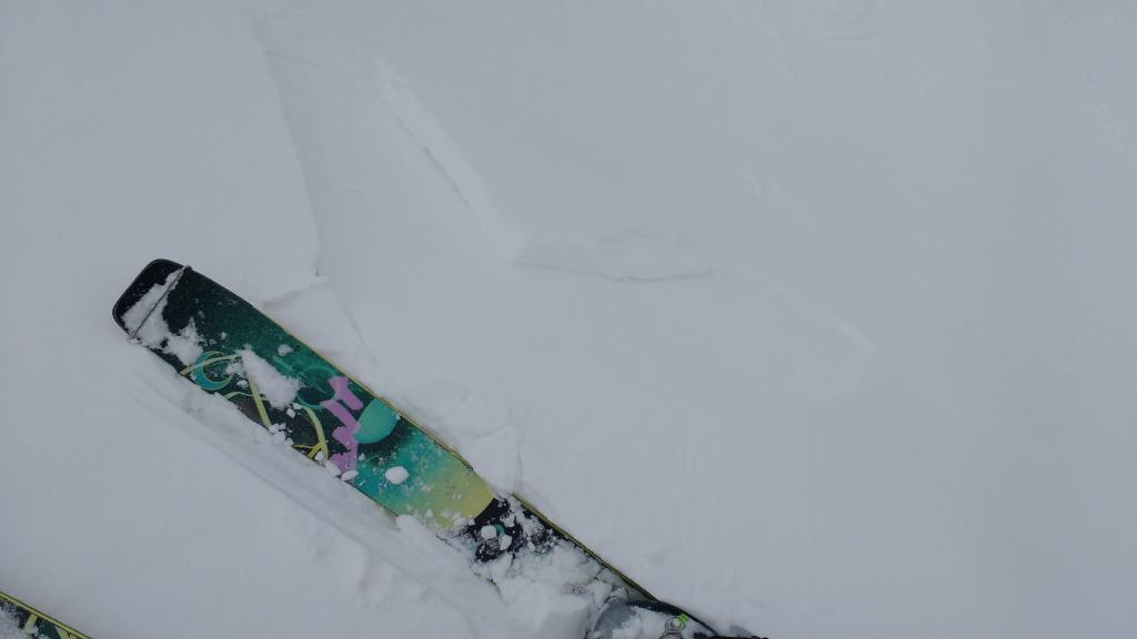 "Maximum extent of cracking observed in tiny, inconsequential <a href=""https://www.sierraavalanchecenter.org/avalanche-terms/wind-slab"" title=""A cohesive layer of snow formed when wind deposits snow onto leeward terrain. Wind slabs are often smooth and rounded and sometimes sound hollow."" class=""lexicon-term"">wind slab</a>."