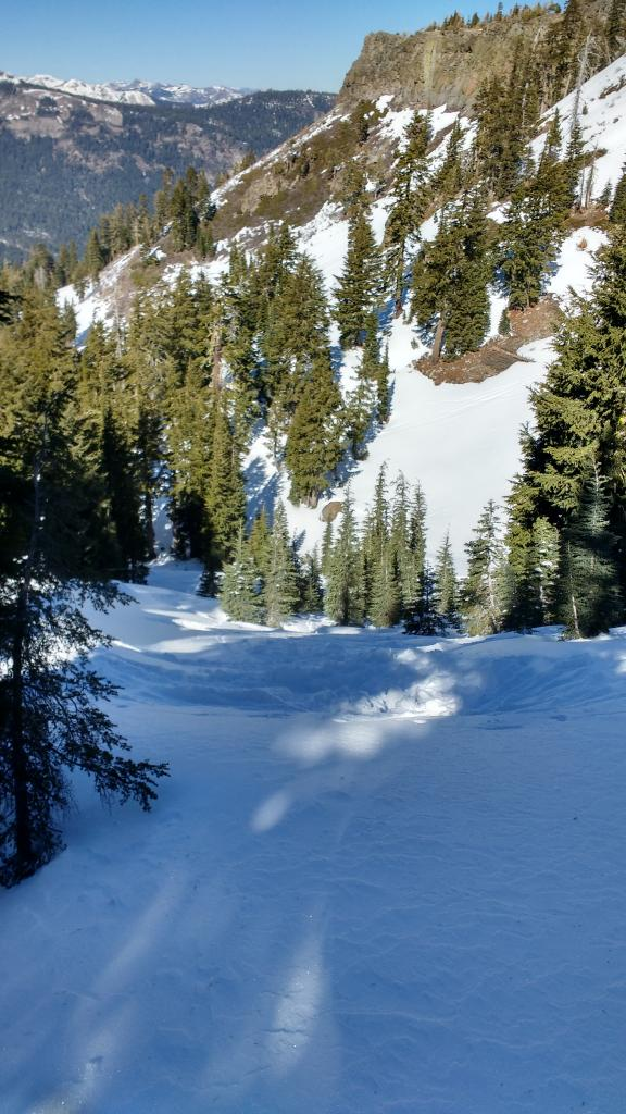 "Tale of two <a href=""/avalanche-terms/aspect"" title=""The compass direction a slope faces (i.e. North, South, East, or West.)"" class=""lexicon-term"">aspects</a> - 1.8m deep snowpack on N <a href=""/avalanche-terms/aspect"" title=""The compass direction a slope faces (i.e. North, South, East, or West.)"" class=""lexicon-term"">aspect</a> in the foreground and obvoiusly thin snowpack on solar <a href=""/avalanche-terms/aspect"" title=""The compass direction a slope faces (i.e. North, South, East, or West.)"" class=""lexicon-term"">aspects</a> in the background."