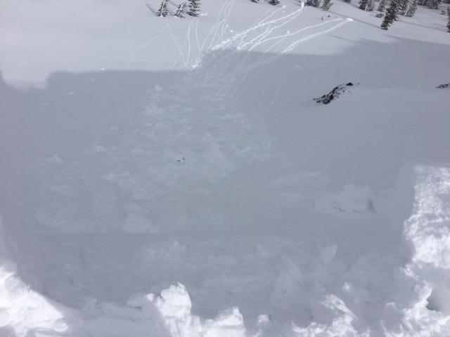 "Cornices release onto <a href=""/avalanche-terms/wind-loading"" title=""The added weight of wind drifted snow."" class=""lexicon-term"">wind loaded</a> slopes did not result in any <a href=""/avalanche-terms/wind-slab"" title=""A cohesive layer of snow formed when wind deposits snow onto leeward terrain. Wind slabs are often smooth and rounded and sometimes sound hollow."" class=""lexicon-term"">wind slab</a> failure."
