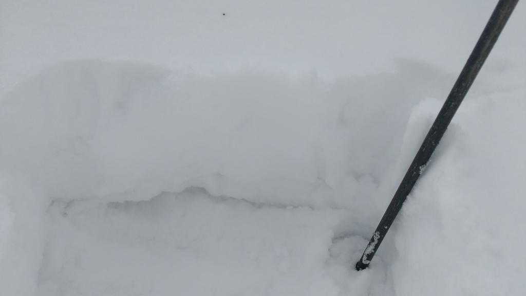 """Recent storm snow over poorly developed near surface <a href=""""/avalanche-terms/faceted-snow"""" title=""""Angular snow with poor bonding created from large temperature gradients within the snowpack."""" class=""""lexicon-term"""">facets</a>."""