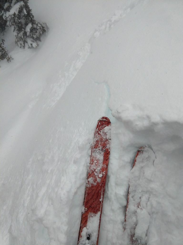 "Shooting cracks on small <a href=""https://www.sierraavalanchecenter.org/avalanche-terms/wind-loading"" title=""The added weight of wind drifted snow."" class=""lexicon-term"">wind loaded</a> test slope."