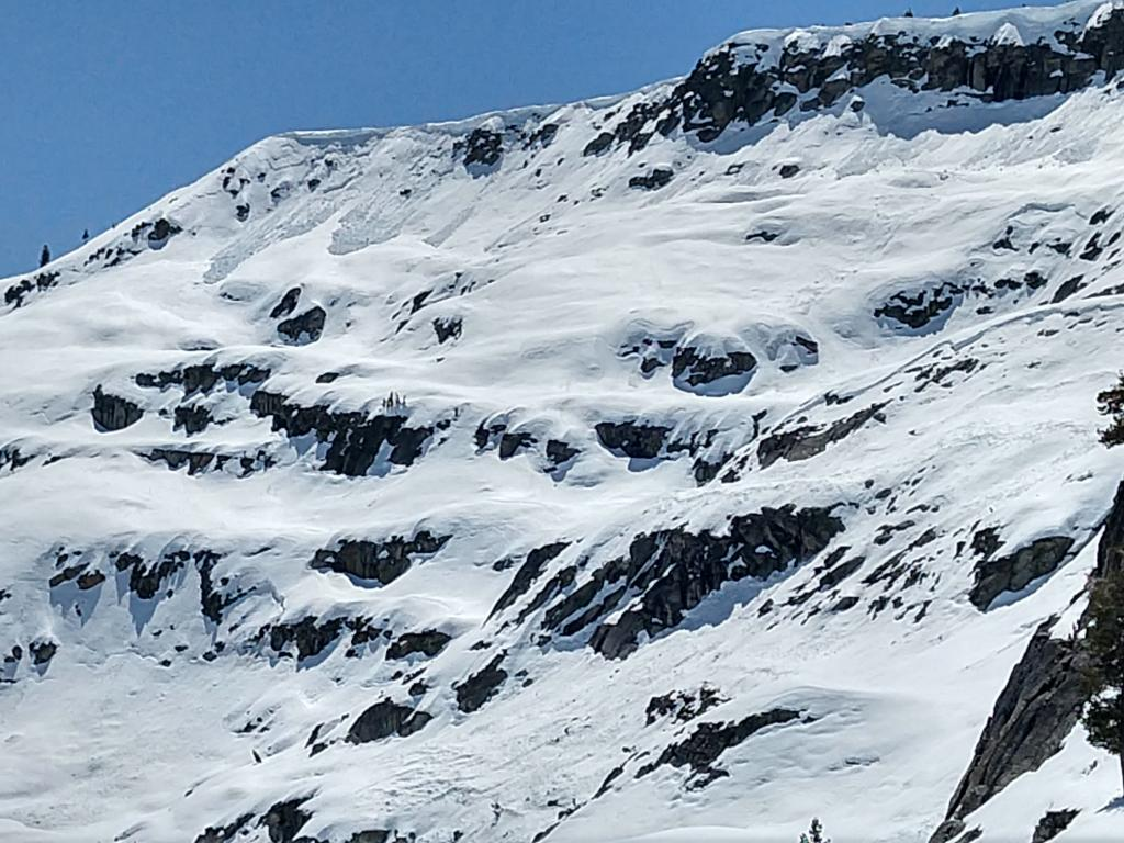 """Large <a href=""""/avalanche-terms/cornice"""" title=""""A mass of snow deposited by the wind, often overhanging, and usually near a sharp terrain break such as a ridge. Cornices can break off unexpectedly and should be approached with caution."""" class=""""lexicon-term"""">cornice</a> <a href=""""/avalanche-terms/collapse"""" title=""""When the fracture of a lower snow layer causes an upper layer to fall. Also called a whumpf, this is an obvious sign of instability."""" class=""""lexicon-term"""">collapses</a> on a NE <a href=""""/avalanche-terms/aspect"""" title=""""The compass direction a slope faces (i.e. North, South, East, or West.)"""" class=""""lexicon-term"""">aspect</a> at 8800 ft. It looks like these occurred during the rain storm."""