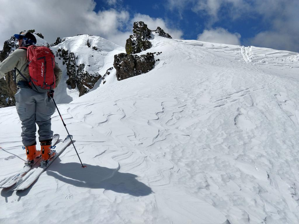 NW winds scouring the ridge on Castle Peak at 11:15 am