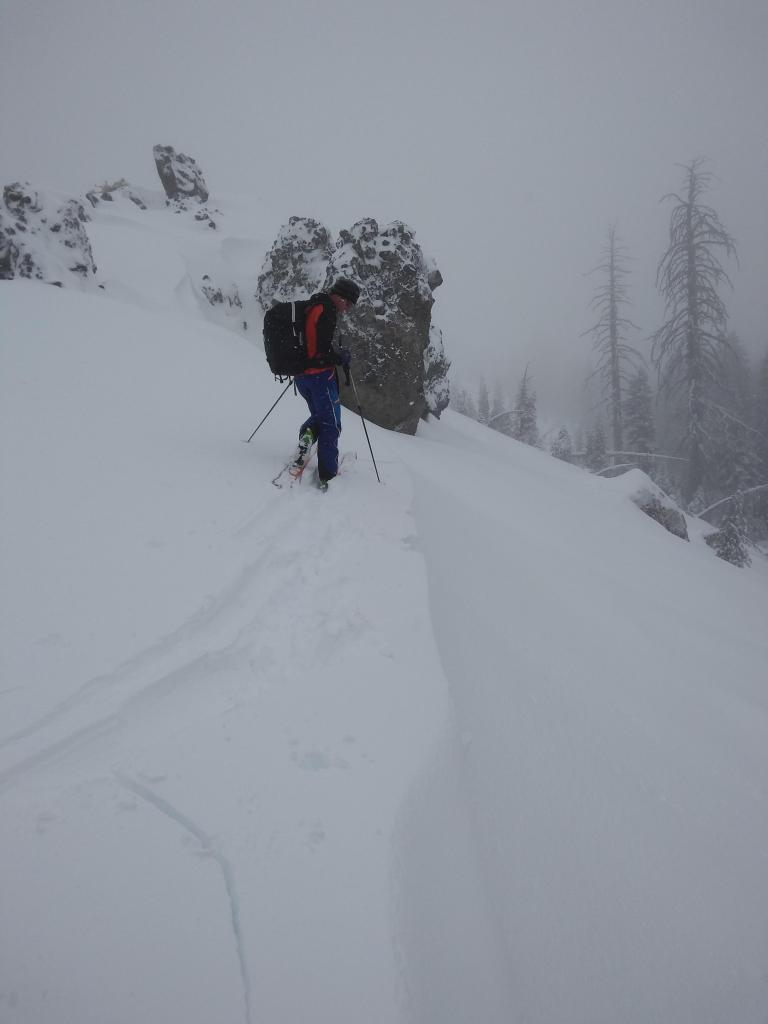 "<a href=""https://www.sierraavalanchecenter.org/avalanche-terms/wind-loading"" title=""The added weight of wind drifted snow."" class=""lexicon-term"">Wind loaded</a> pillows showed minor cracking."
