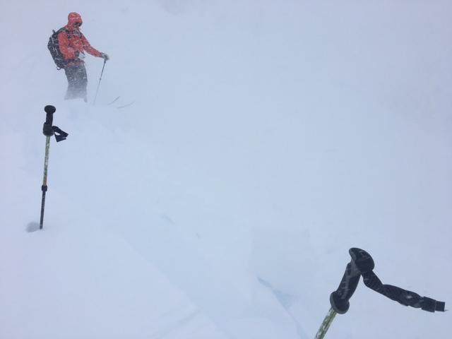 """High intensity <a href=""""/avalanche-terms/wind-loading"""" title=""""The added weight of wind drifted snow."""" class=""""lexicon-term"""">wind loading</a> at ridge top above treeline."""