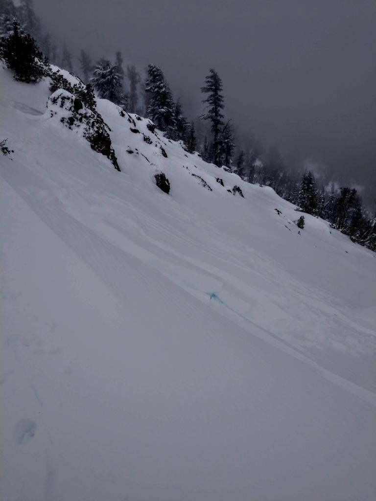 Small windslab along ridge line