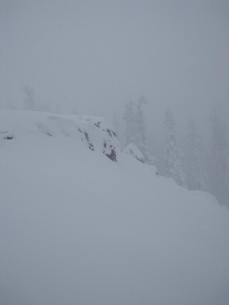 """The first <a href=""""https://www.sierraavalanchecenter.org/avalanche-terms/wind-loading"""" title=""""The added weight of wind drifted snow."""" class=""""lexicon-term"""">wind loaded</a> feature we approached at treeline, E <a href=""""https://www.sierraavalanchecenter.org/avalanche-terms/aspect"""" title=""""The compass direction a slope faces (i.e. North, South, East, or West.)"""" class=""""lexicon-term"""">aspect</a>,~7,900'. Intentional remote skier <a href=""""https://www.sierraavalanchecenter.org/avalanche-terms/trigger"""" title=""""A disturbance that initiates fracture within the weak layer causing an avalanche. In 90 percent of avalanche accidents, the victim or someone in the victims party triggers the avalanche."""" class=""""lexicon-term"""">triggered</a> <a href=""""https://www.sierraavalanchecenter.org/avalanche-terms/avalanche"""" title=""""A mass of snow sliding, tumbling, or flowing down an inclined surface."""" class=""""lexicon-term"""">avalanche</a>."""