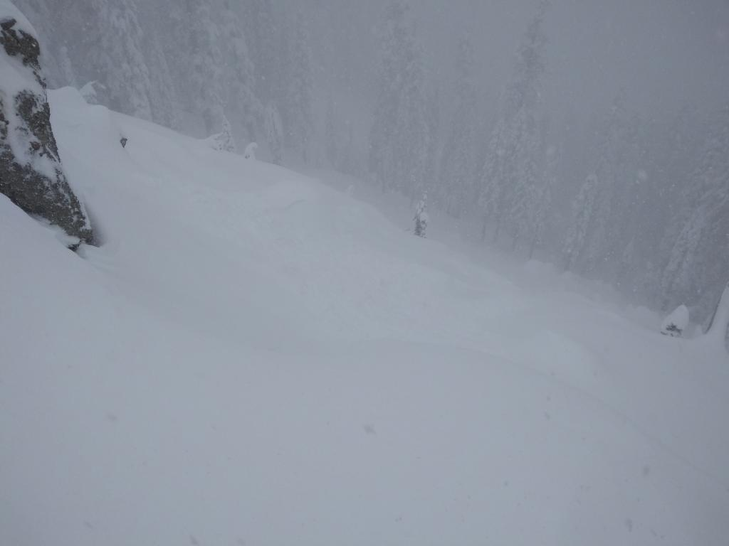 """View from triggering location. 20' shooting crack to where <a href=""""https://www.sierraavalanchecenter.org/avalanche-terms/avalanche"""" title=""""A mass of snow sliding, tumbling, or flowing down an inclined surface."""" class=""""lexicon-term"""">avalanche</a> occurred."""