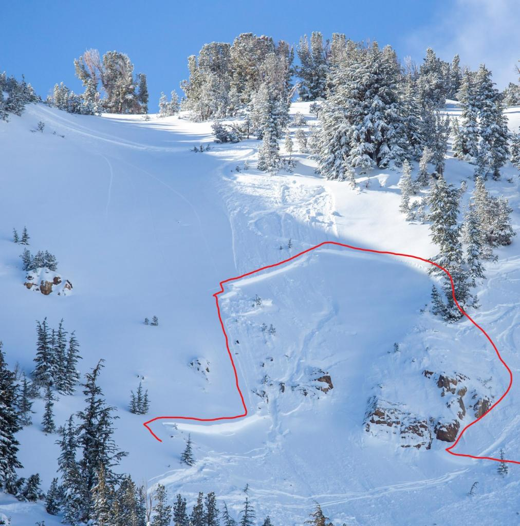 "Overview of <a href=""https://www.sierraavalanchecenter.org/avalanche-terms/avalanche"" title=""A mass of snow sliding, tumbling, or flowing down an inclined surface."" class=""lexicon-term"">avalanche</a> <a href=""https://www.sierraavalanchecenter.org/avalanche-terms/crown-face"" title=""The top fracture surface of a slab avalanche. Usually smooth, clean cut, and angled 90 degrees to the bed surface."" class=""lexicon-term"">crown</a>. The first <a href=""https://www.sierraavalanchecenter.org/avalanche-terms/ski-cut"" title=""A stability test where a skier, rider or snowmobiler rapidly crosses an avalanche starting zone to see if an avalanche initiates. Slope cuts can be dangerous and should only be performed by experienced people on small avalanche paths or test slopes."" class=""lexicon-term"">ski cut</a> is visible as well as where the skier stopped after releasing the loose <a href=""https://www.sierraavalanchecenter.org/avalanche-terms/loose-snow-avalanche"" title=""An avalanche that releases from a point and spreads downhill collecting more snow - different from a slab avalanche. Also called a point-release or sluff."" class=""lexicon-term"">sluff</a>."