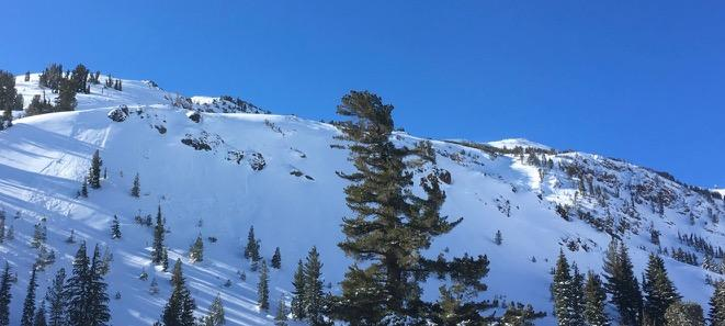 "Natural <a href=""https://www.sierraavalanchecenter.org/avalanche-terms/avalanche"" title=""A mass of snow sliding, tumbling, or flowing down an inclined surface."" class=""lexicon-term"">slide</a> on left of photo and skier <a href=""https://www.sierraavalanchecenter.org/avalanche-terms/trigger"" title=""A disturbance that initiates fracture within the weak layer causing an avalanche. In 90 percent of avalanche accidents, the victim or someone in the victims party triggers the avalanche."" class=""lexicon-term"">triggered</a> <a href=""https://www.sierraavalanchecenter.org/avalanche-terms/avalanche"" title=""A mass of snow sliding, tumbling, or flowing down an inclined surface."" class=""lexicon-term"">slide</a> on far right."