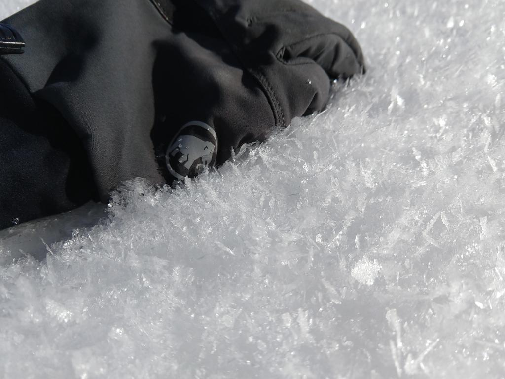"More <a href=""https://www.sierraavalanchecenter.org/avalanche-terms/surface-hoar"" title=""Featherly crystals that form on the snow surface during clear and calm conditions - essentially frozen dew. Forms a persistent weak layer once buried."" class=""lexicon-term"">surface hoar</a> on in an open area on Tamarack Peak"